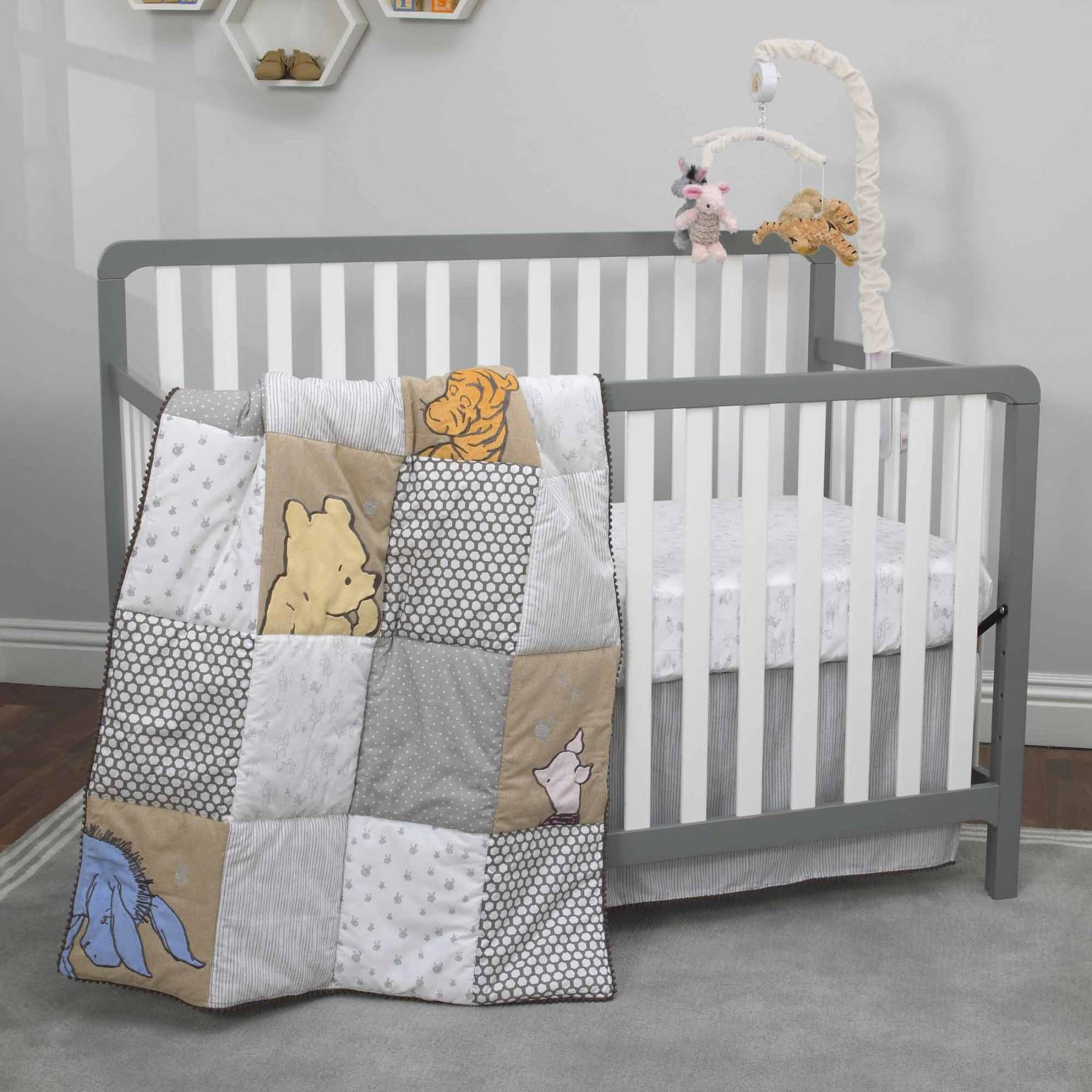 Clic Pooh 3 Piece Taupe Grey And Snow Crib Bedding Set