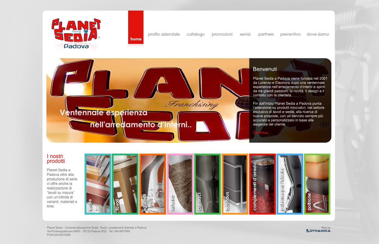 Realizzazione sito Planet Sedia Padova. http://www.planetsediapadova ...