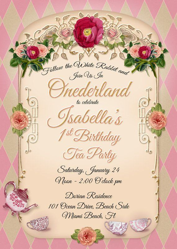 ONEDERLAND TEA PARTY Birthday Invitation 1st Tea Party One Derland Girl Invitat