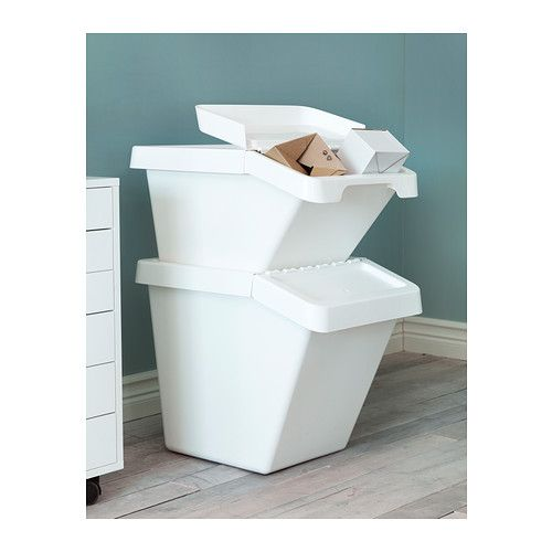 Sortera Recycling Bin With Lid White 10 Gallon Ikea Recycling Bins Ikea Ikea Kitchen Storage