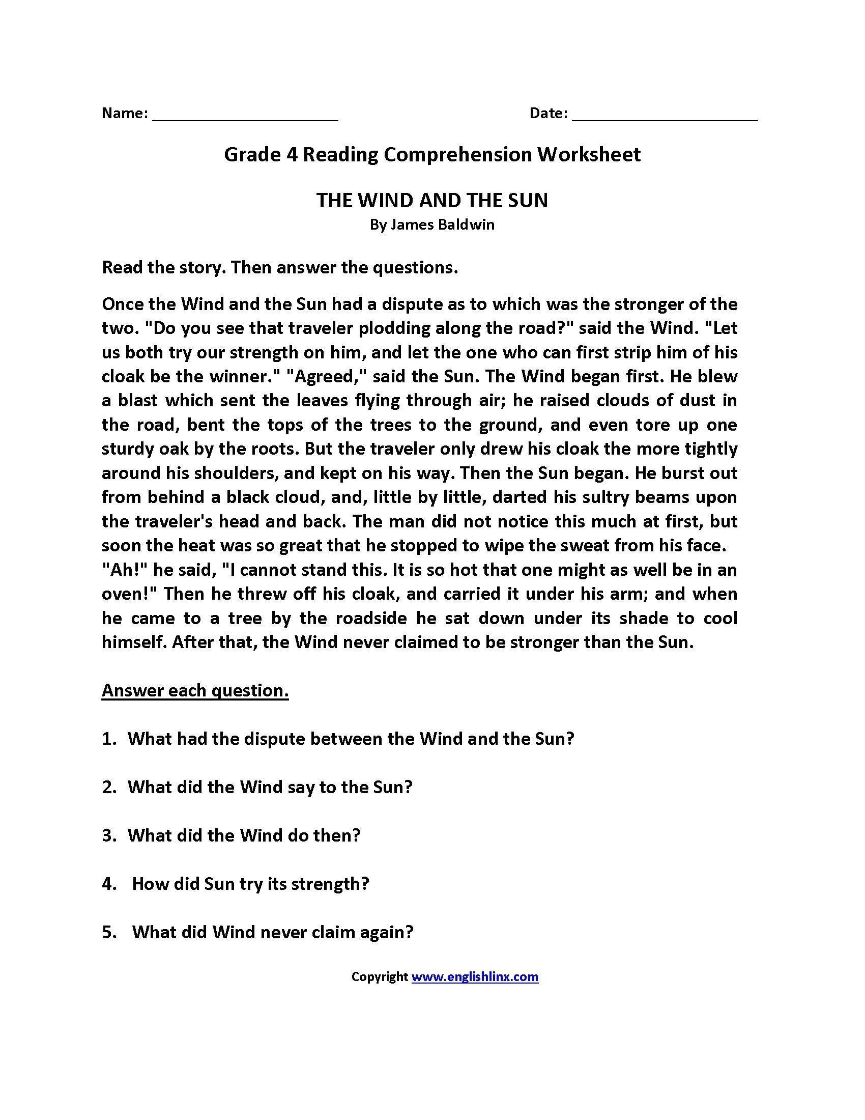- Comprehension Worksheets Grade 4 Lacocinamagicanet Comprehension