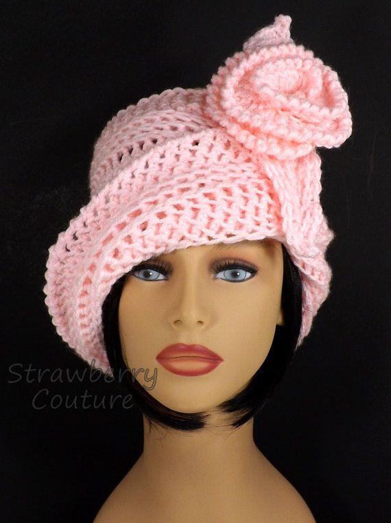 Soft Pink Cloche Hat, Soft Pink Crochet Hat Womens Hat, Steampunk ...