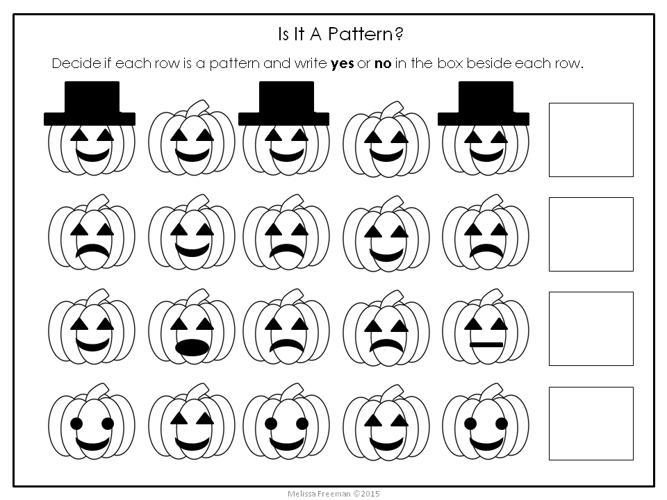 Free Three Patterning Worksheets With A Pumpkin Theme Wilson