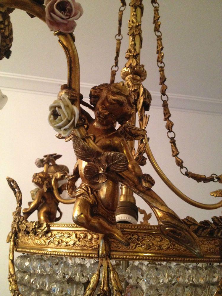 reprsentativer kronleuchter bronze engel leuchter kristall empire vergoldet - Bronze Kronleuchter