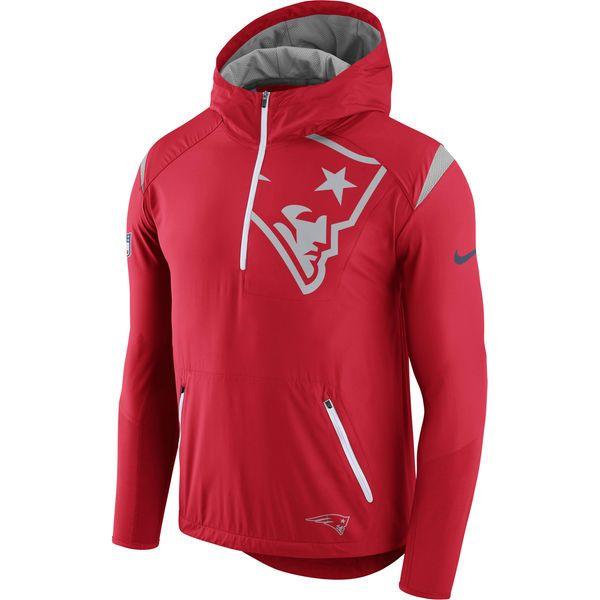 Men S New England Patriots Nike Red Sideline Fly Rush Half Zip Pullover Jacket Football Jackets New England Patriots Apparel Jackets