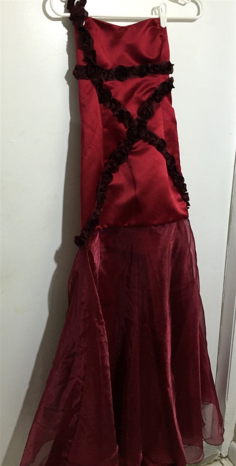 Nice vtg custom rose red floral long sheer prom ball gown dress sz