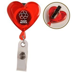 """Heart Secure A Badge W/ Alligator Clip. Lightweight, heart-shaped design sends a caring message. Features a strong snap lock, an alligator clip on backside and a 30"""" sturdy nylon retracting cord. 1 3/4"""" H x 1 1/2"""" W x 7/8"""" D abetteridea.com 401-841-5646 #promotionalgifts #tradeshowitems"""