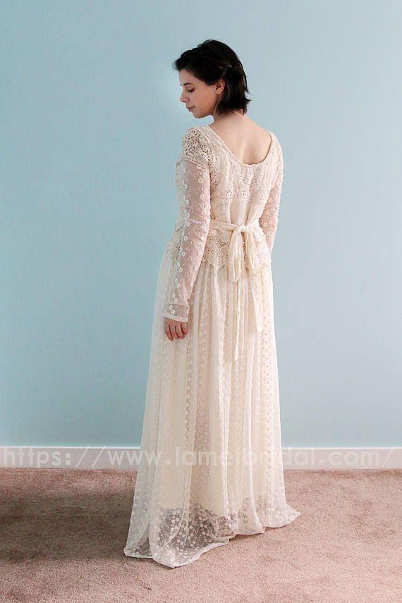 Short Ivory Vintage Style Long Sleeve Lace Wedding Bridal Dress for ...