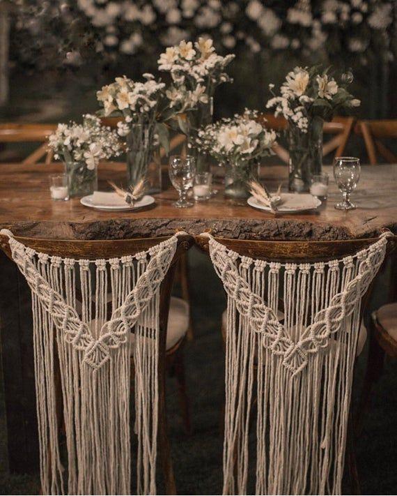 Macrame wedding chair cover, macrame wall hanging, boho wedding decor