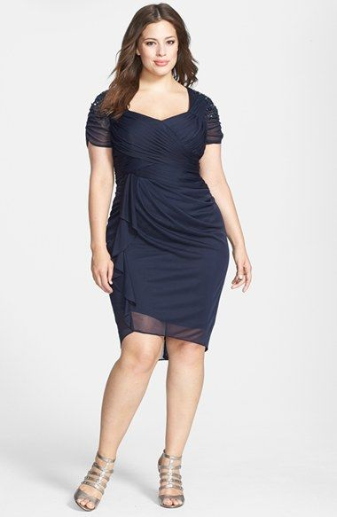 Adrianna Papell Cap Sleeve Side Ruched Dress (Plus Size ...