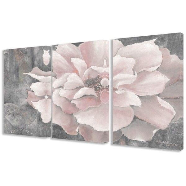 Stupell Pastel Pink Peony on Grey 3-piece 3-piece Triptych Canvas Art... ($108) ? liked on Polyvore featuring home home decor wall art art grey ...  sc 1 st  Pinterest & Stupell Pastel Pink Peony on Grey 3-piece 3-piece Triptych Canvas ...