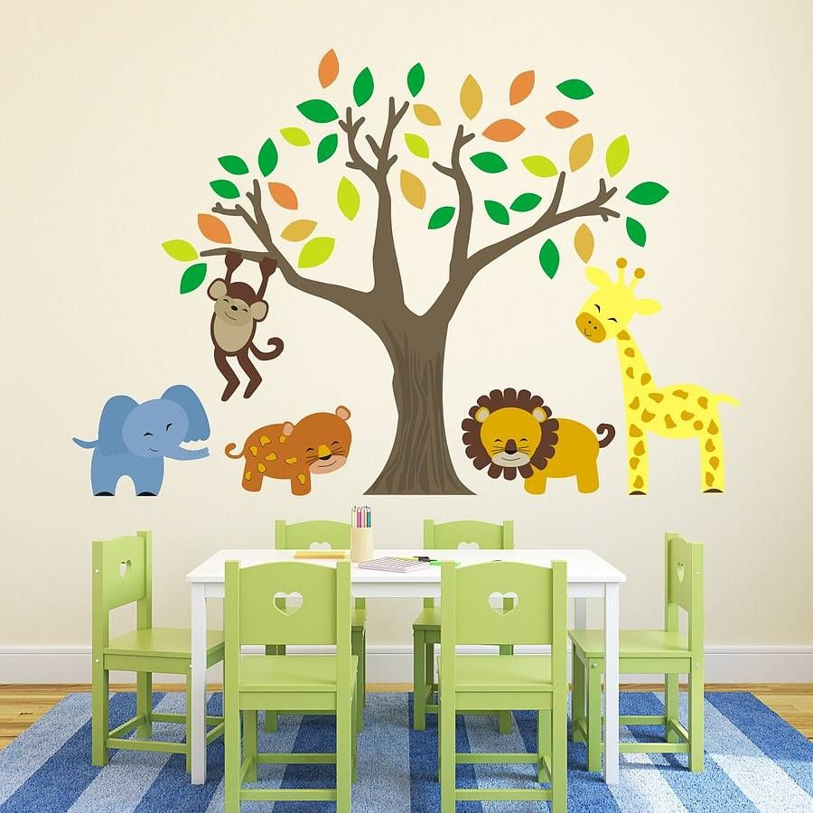 Jungle Animals And Tree Wall Stickers Jungle Wall Stickers Wall - Wall decals jungle