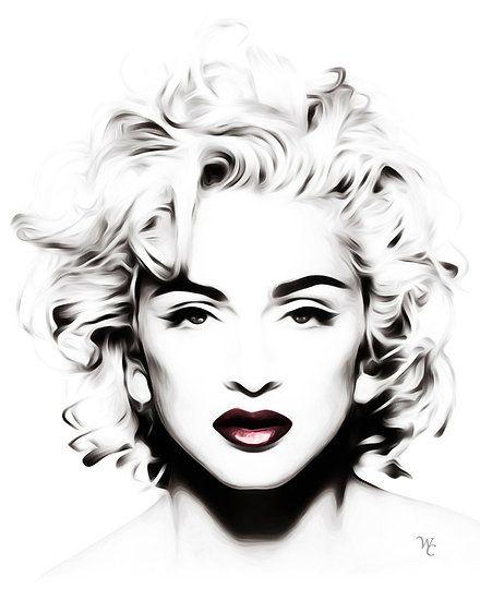 Madonna Black And White : madonna, black, white, Black, White, Artwork, Portfolio, Madonna, Tattoo,