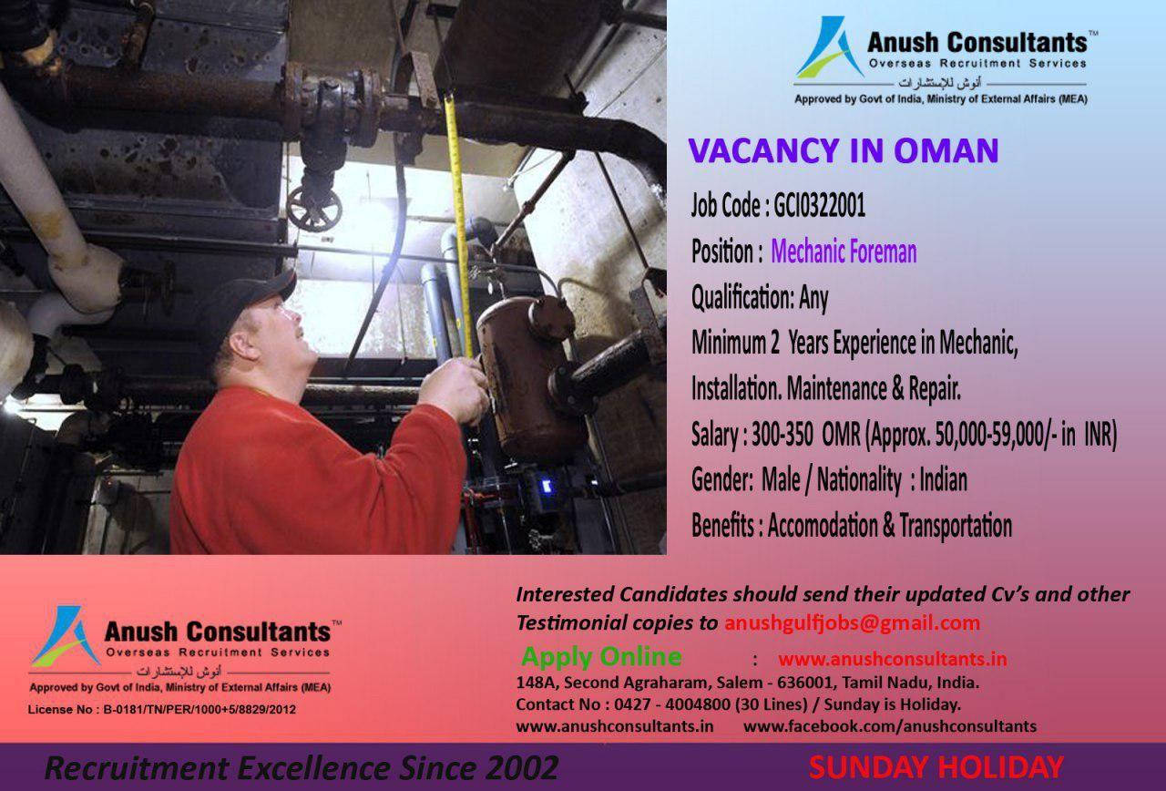 Mechanic foreman vacancy in oman required mechanic foreman