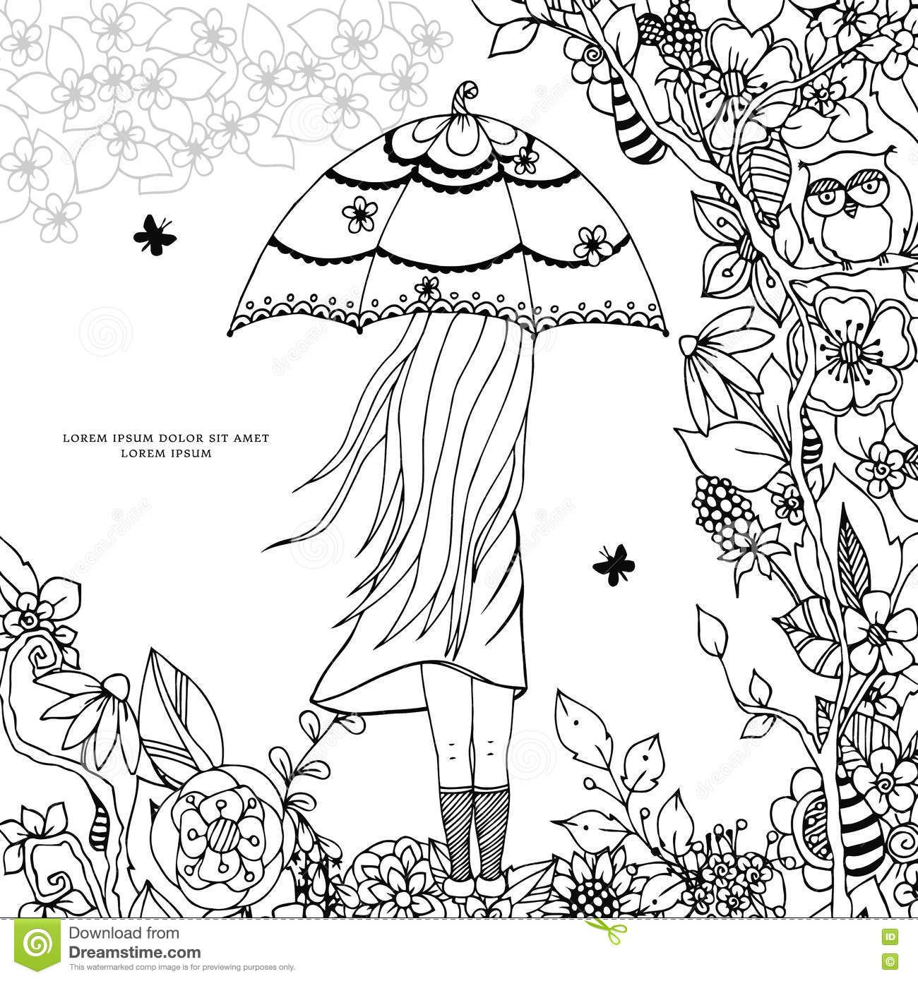 Girl With Umbrella Coloring Pages Umbrella Coloring Page Coloring Pages Coloring Books