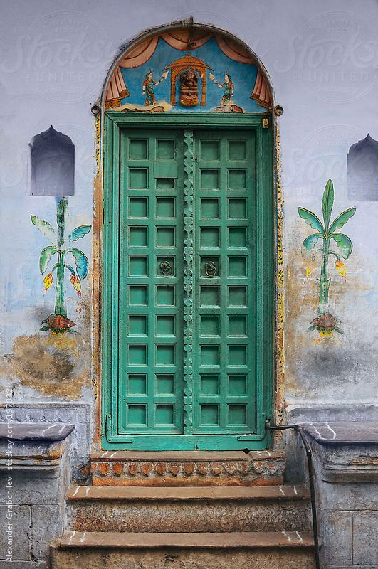 Traditional Indian door by Alexander Grabchilev stocksy
