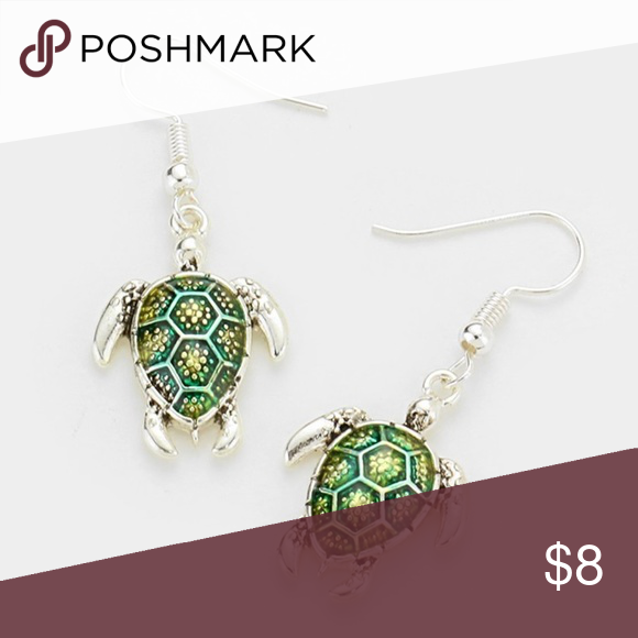 ff7e722212b LACQUERED TURTLE EARRINGS Color   Antique Silver