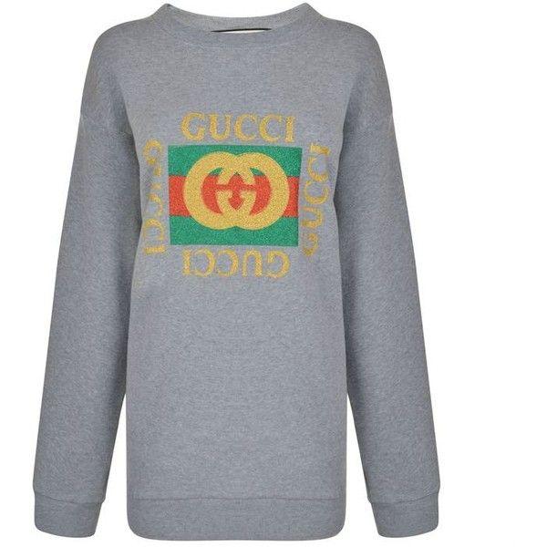 8e01f158 Gucci Gucci Glitter Pattern Print Sweatshirt Dress ($1,050) ❤ liked on  Polyvore featuring dresses, grey, gray cotton dress, print dress, pattern  dress, ...