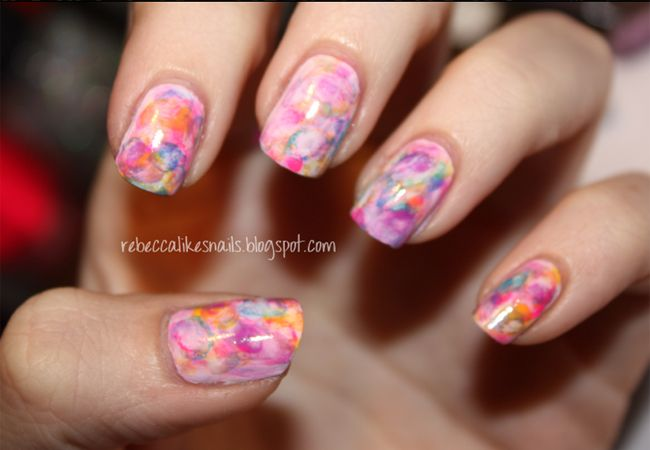 Small Good Things Nail Art Watercolour Nails With Acrylic