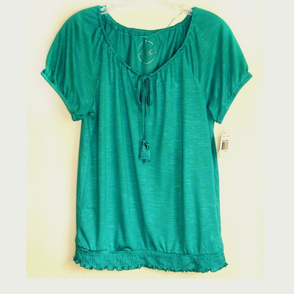 d865560f73897 INC International Concepts Short-Sleeve Peasant Top Smocked Tassel Tie Teal  XS  INCInternationalConcepts  Blouse  Casual
