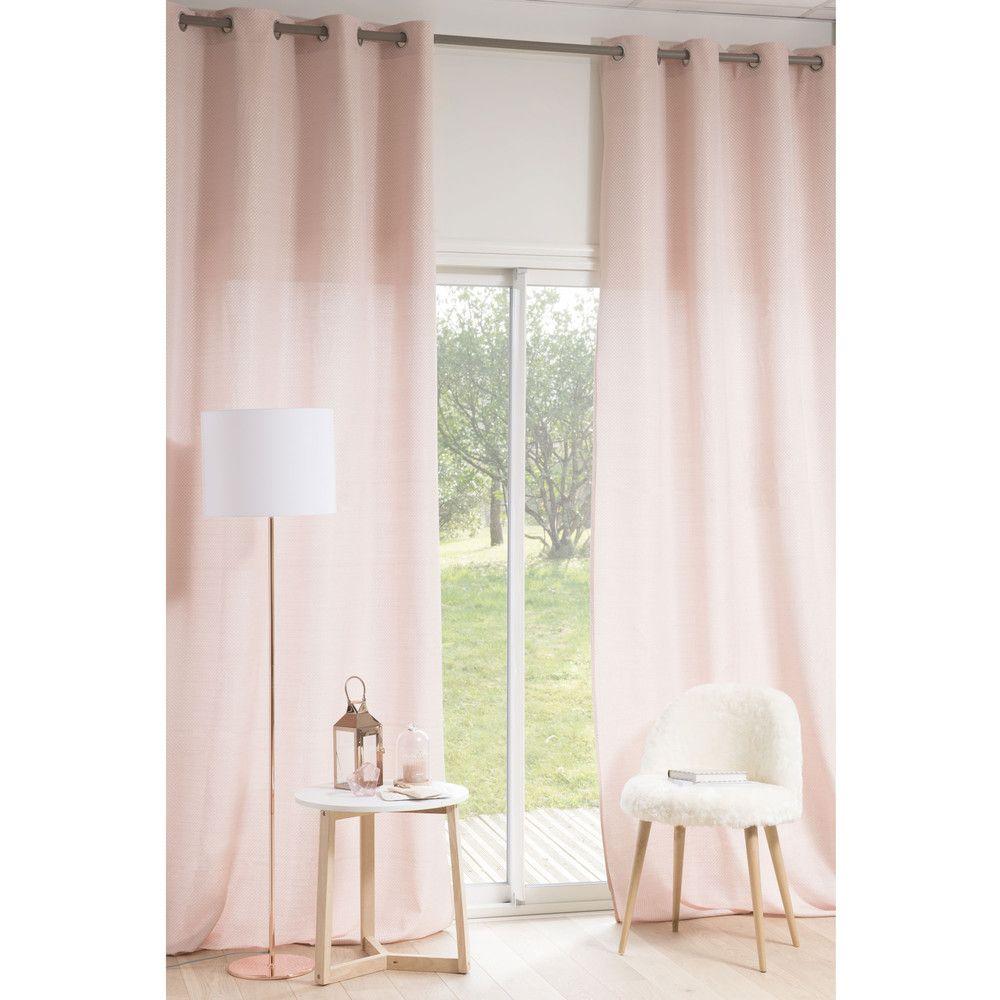 Rideau illets rose 140 x 300 cm rideaux - Rideaux 300 cm ...