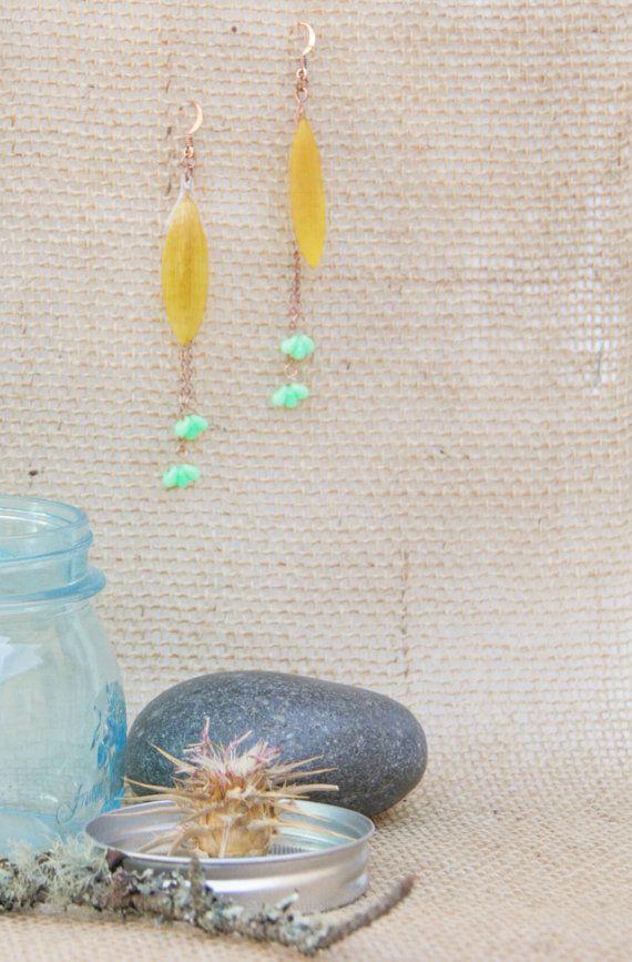 Yellow Sunflower Pressed Flower Petal Earrings with Turquoise Teardrop Czech Glass Beads