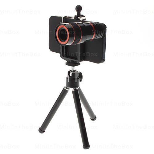 8X Telescopio Obiettivo zoom con supporto e custodia rigida per iPhone 5