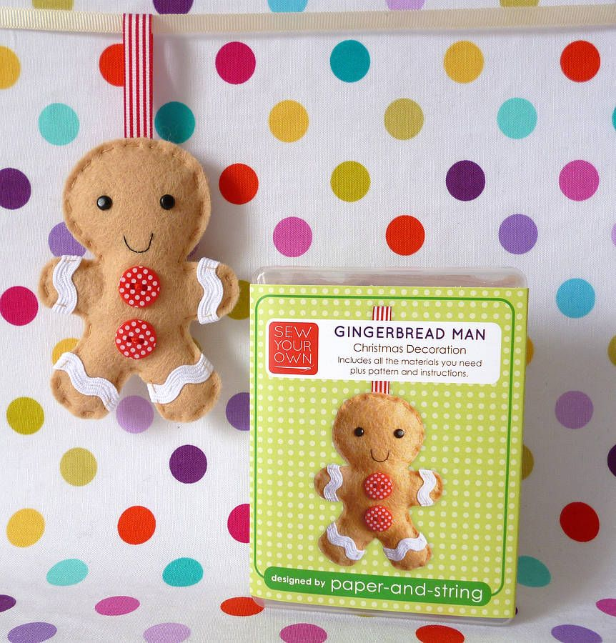 gingerbread man decoration mini kit by paper-and-string | notonthehighstreet.com