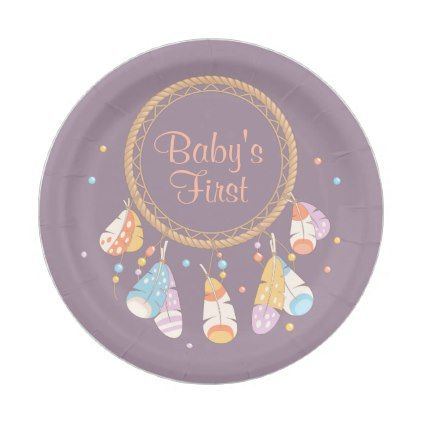 #Tribal Dreamcatcher Boho Baby First 1st Birthday Paper Plate - #giftidea #gift #present #idea #one #first #bday #birthday #1stbirthday #party #1st
