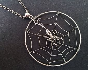 Scary Spider Web Necklace , Spider Cobweb Necklace , Halloween Necklace , Halloween Jewelry , Goth Jewelry , Handmade Jewelry