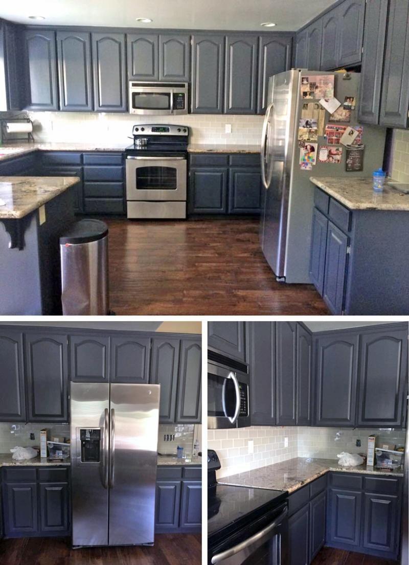 Chic Queenstown Gray Kitchen Makeover Diy Kitchen Remodel Kitchen Design Inexpensive Kitchen Cabinets