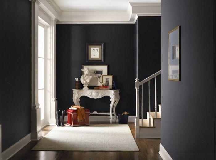 wanfarben ideen flur gestalten weier teppich schwarze wnde - Teppich Ideen