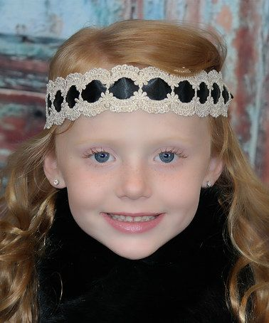 Another great find on #zulily! Ivory & Black Ribbon Lace Headband #zulilyfinds
