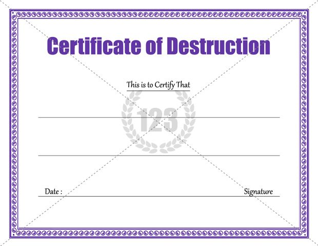 download certificate of destruction template 123certificatetemplates certificate template - Destruction Certificate Template