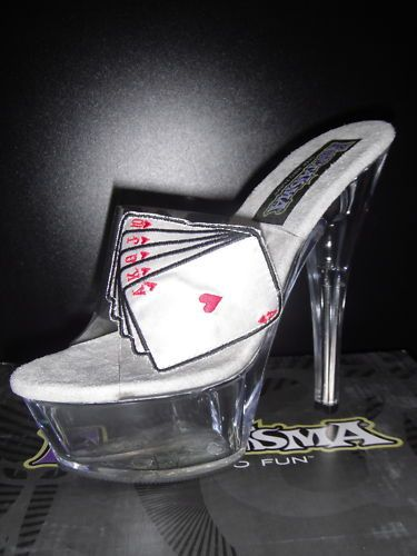 Clear-Poker-Royal-Flush-Platform-Sandals-Size-6