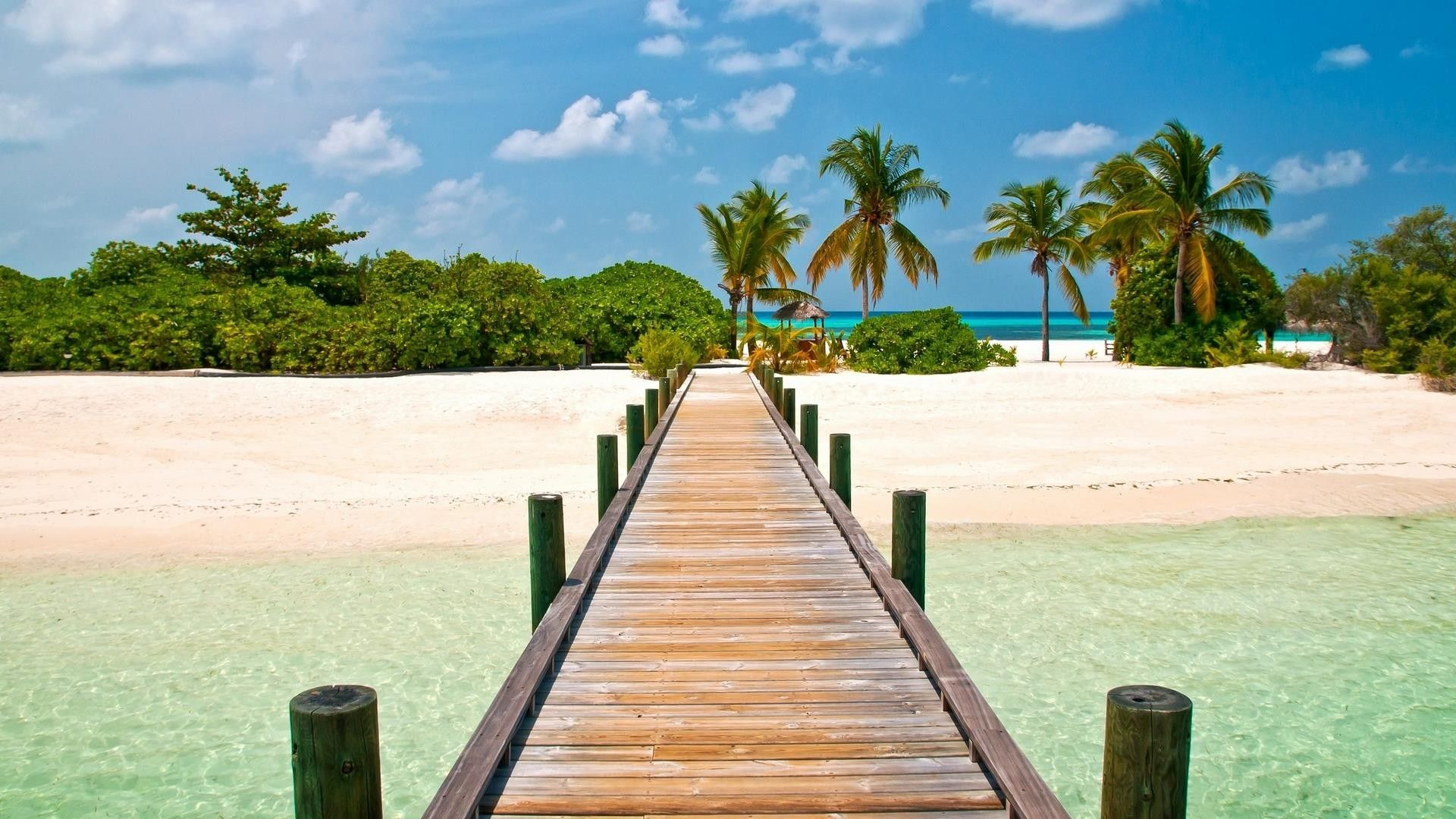 Paradise, Island, Beach Dock, Clear Water 1920x1080 (1080p) - Wallpaper - ImgPrix