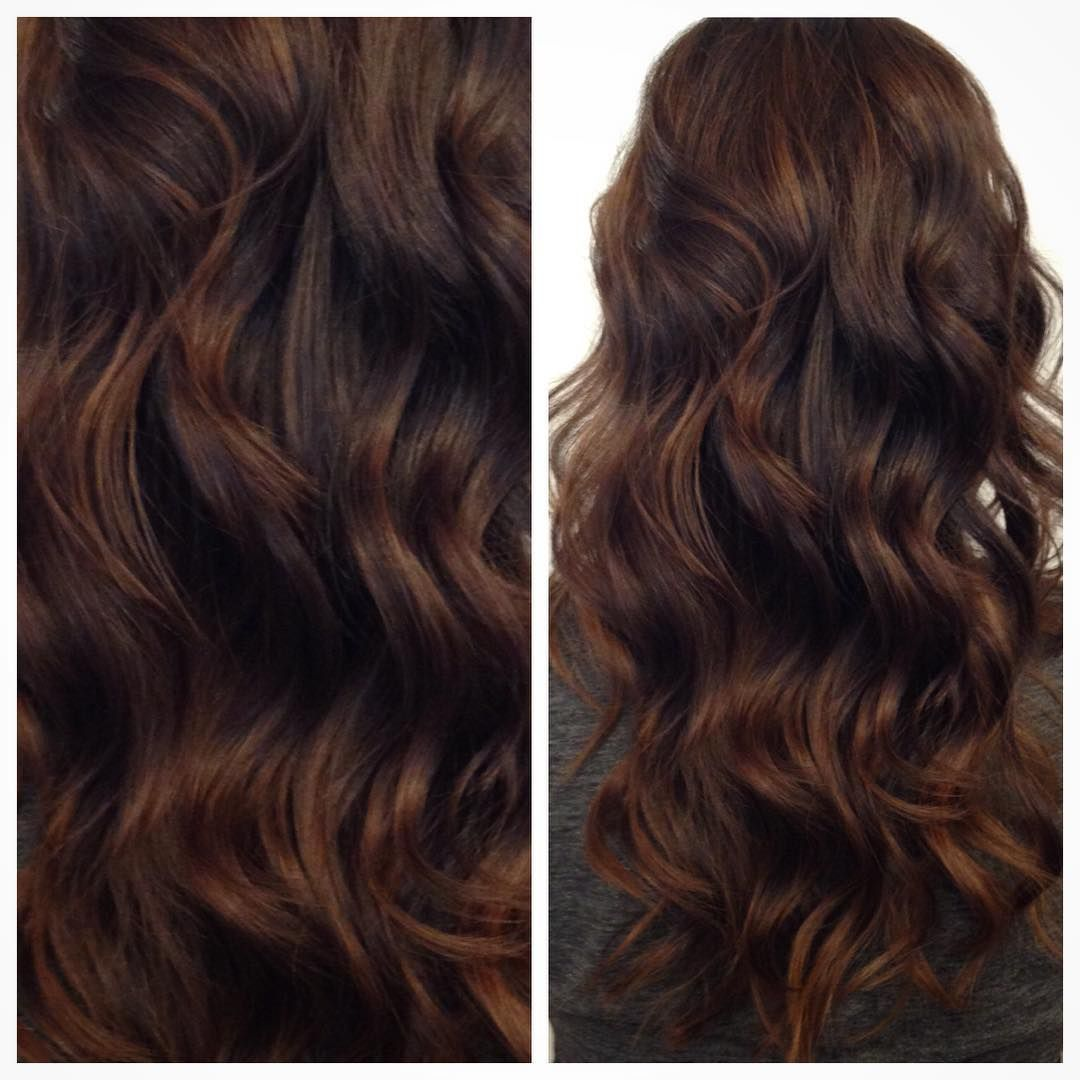 Warm, rich chocolate by @hairbycattaneo. #modernsalon #softwaves ...