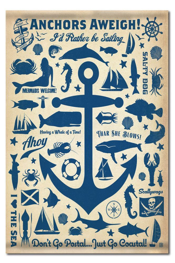 Anchor Pattern Artisan Canvas Tapestry 24x36 Anchor Canvas Retro Poster Gallery Wrap Canvas