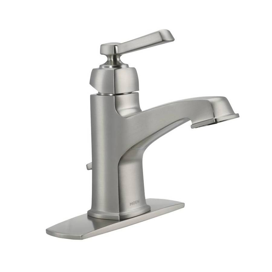 Moen Boardwalk Spot Resist Brushed Nickel 1-Handle Single Hole/4-in ...