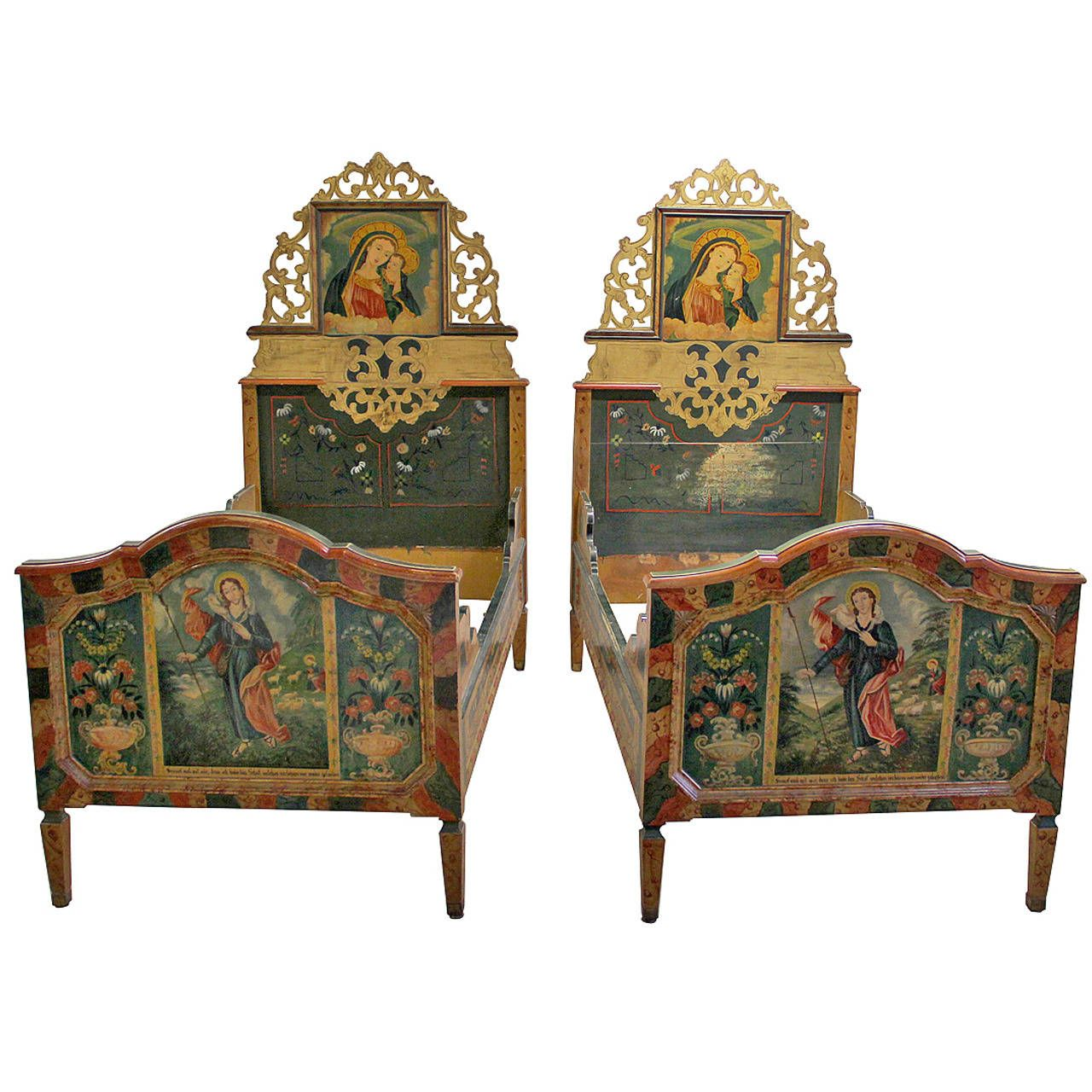 Pair of Swiss Alpine Folk Painted Twin Beds Spinario