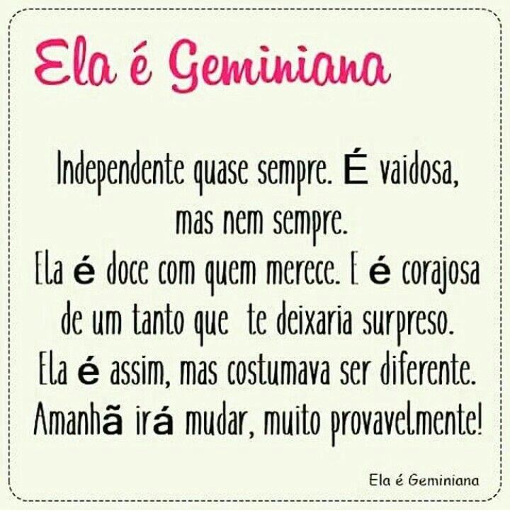 Ela é Geminiana Signo De Ar Gêmeos Frases Gemini Gemini Sign