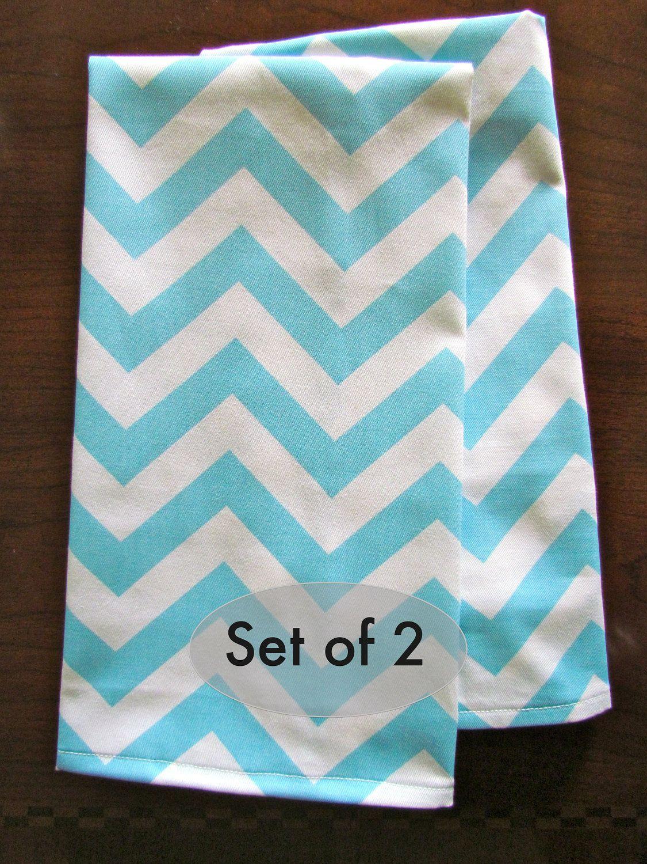Set of 2 -Aqua BLUE TEA TOWEL Kitchen Hand Towels Zig Zag Wedding ...