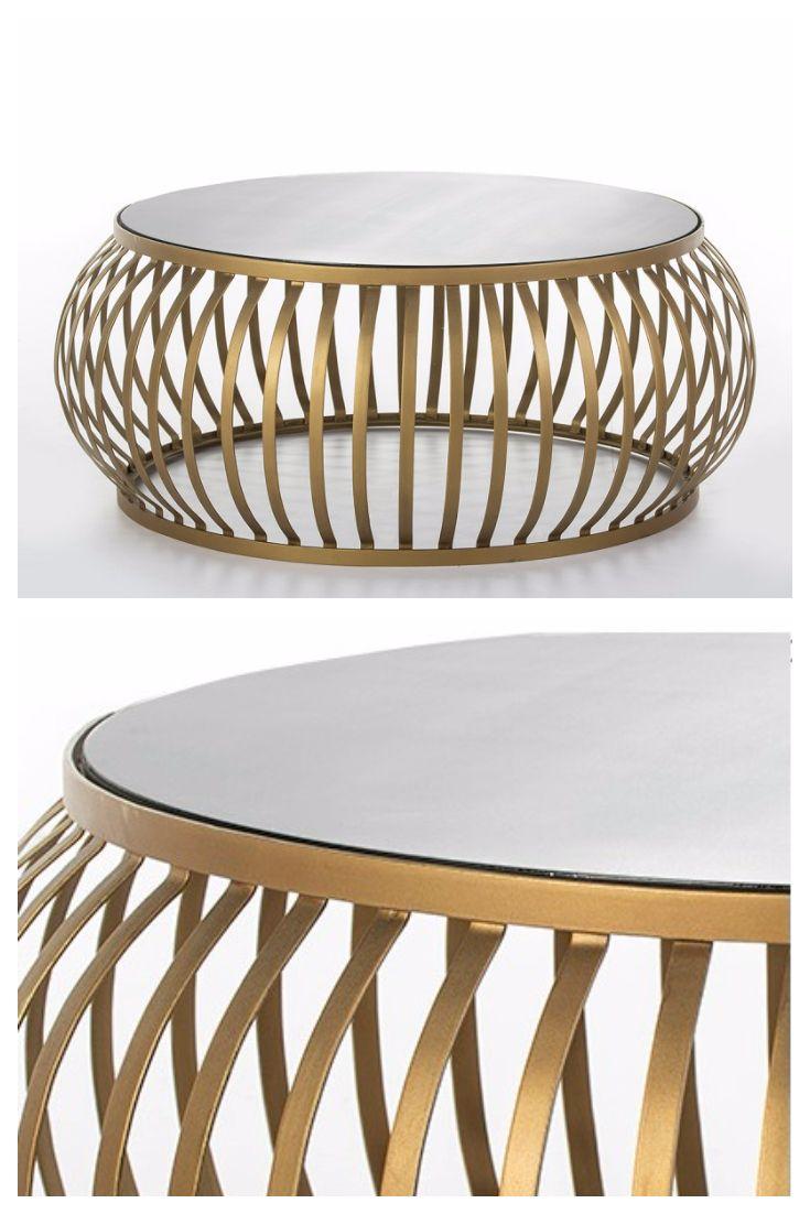 Mesa Centro Metal Dorado Espejo | Comprar Online | Espejo, Mesas de ...