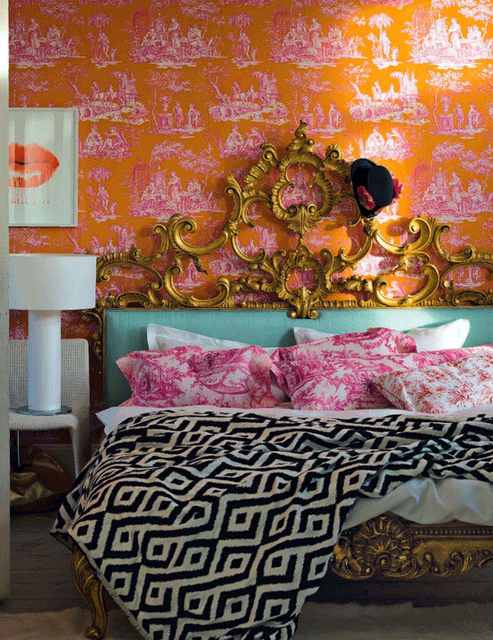 Orange Pink Toile Wallpaper Livingetc A Design My Style