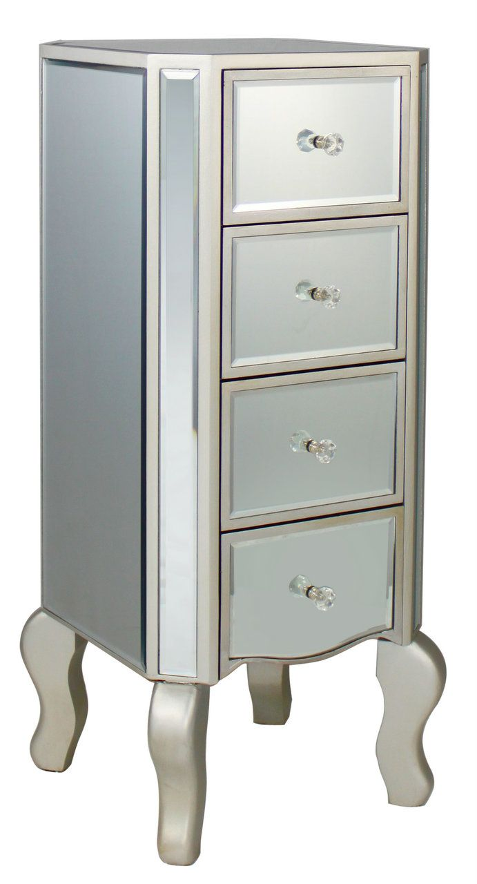 Best New Silver Trim Mirrored 4 Draw Chest Of Draws Mirrored 640 x 480