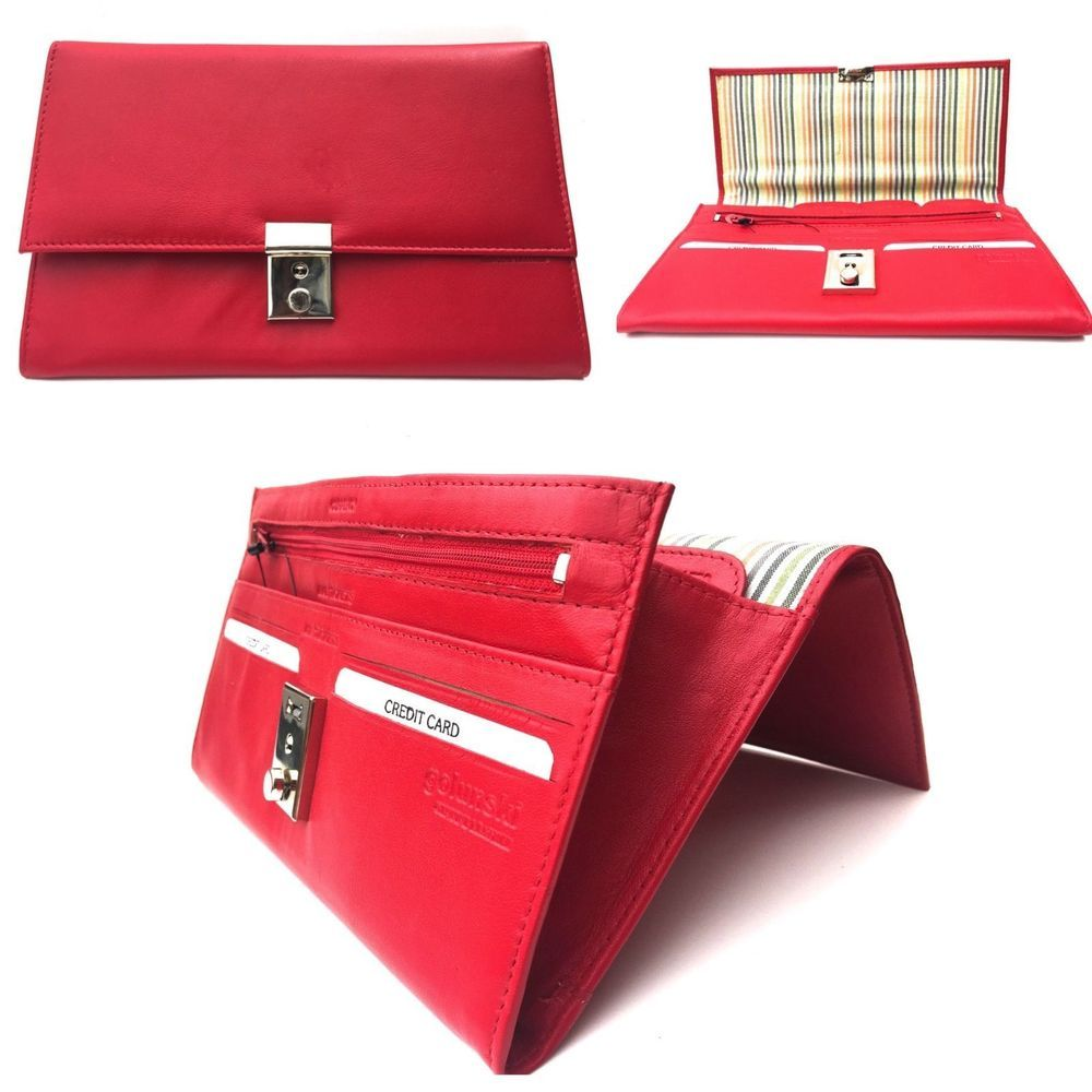 Real leather Golunski Red Leather Wallet /& Purse
