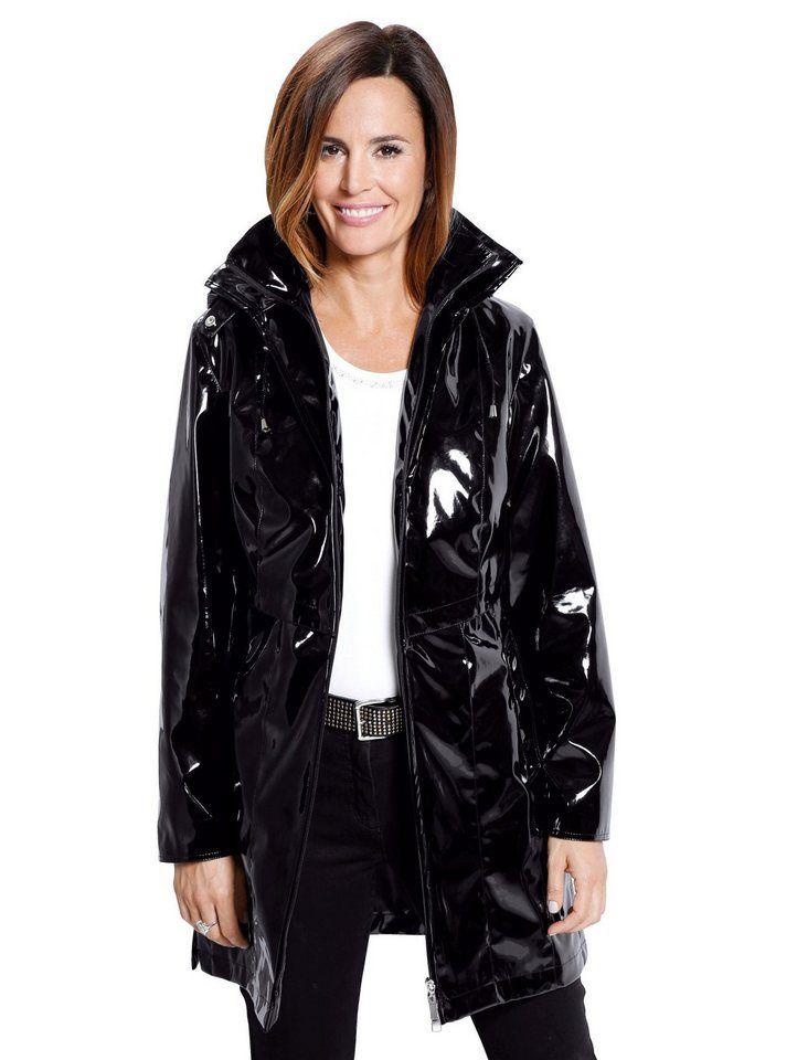 Mona Regenjacke in Lack-Optik Black Raincoat, Pvc Raincoat, Mona, Saum, bf1e56f375