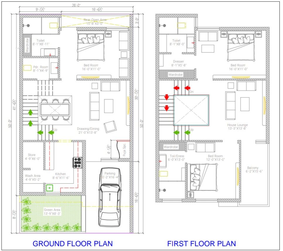 26 50 Luxury Home 3bhk Plan My House Plans Indian House Plans Small House Design Plans