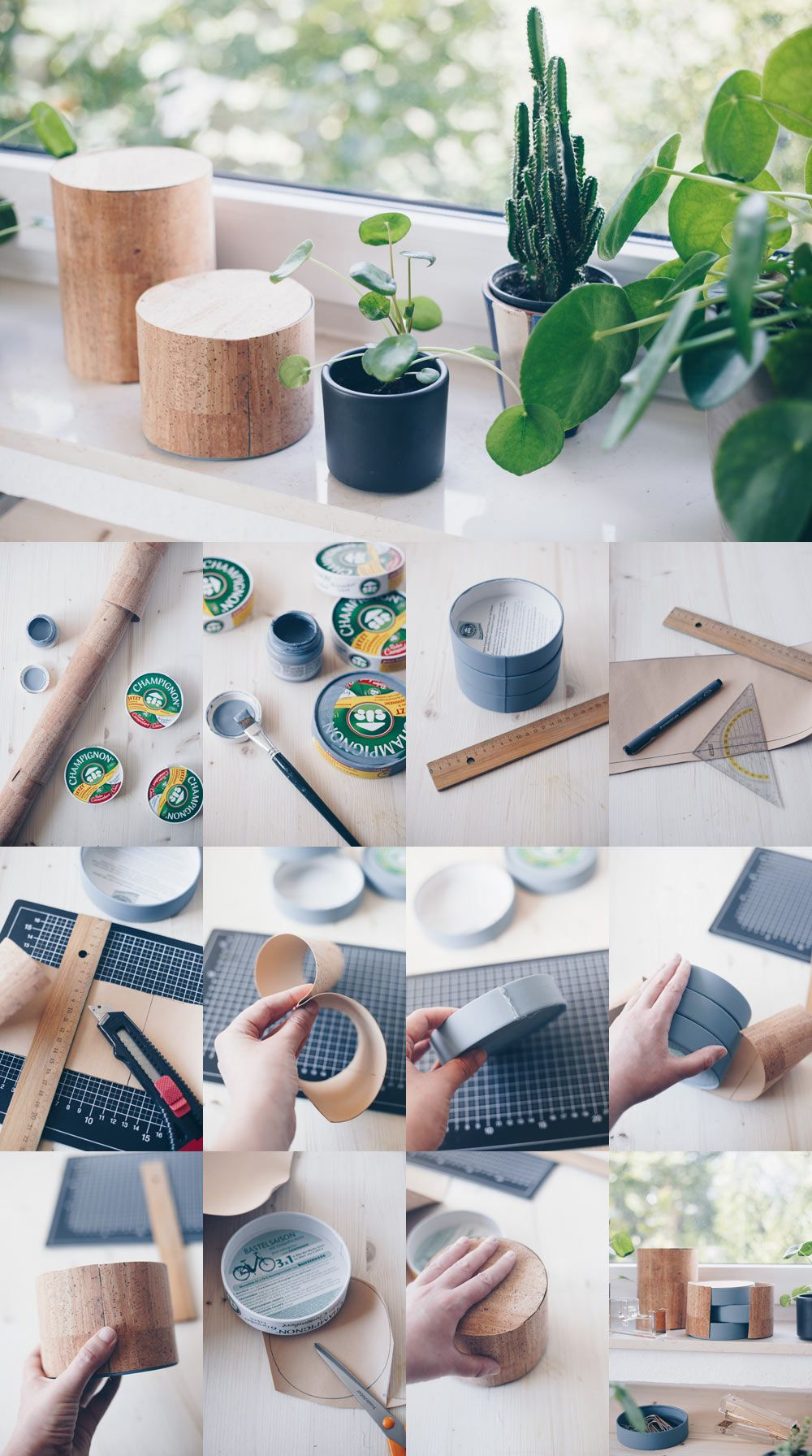DIY Büro Organizer - Upcycling aus Camembert Schachteln - mit Kork