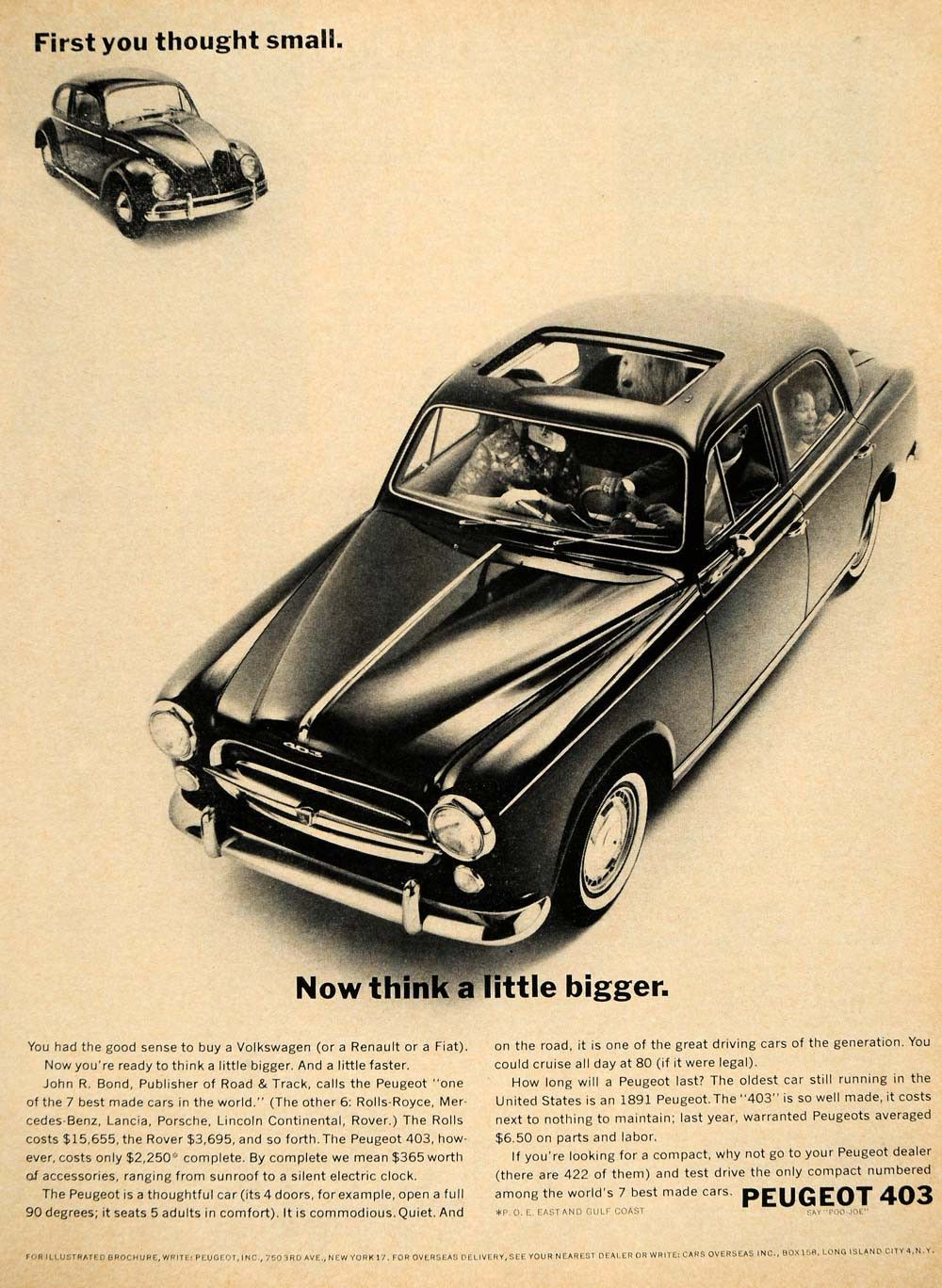 1961 ad peugeot 403 best car road & track john r bond - original